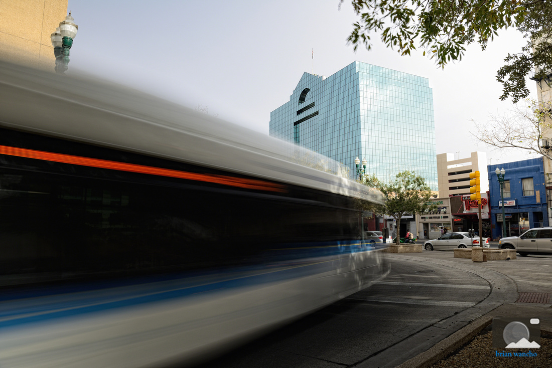 Sun Metro Bus passes in front of the El Paso County Courthouse